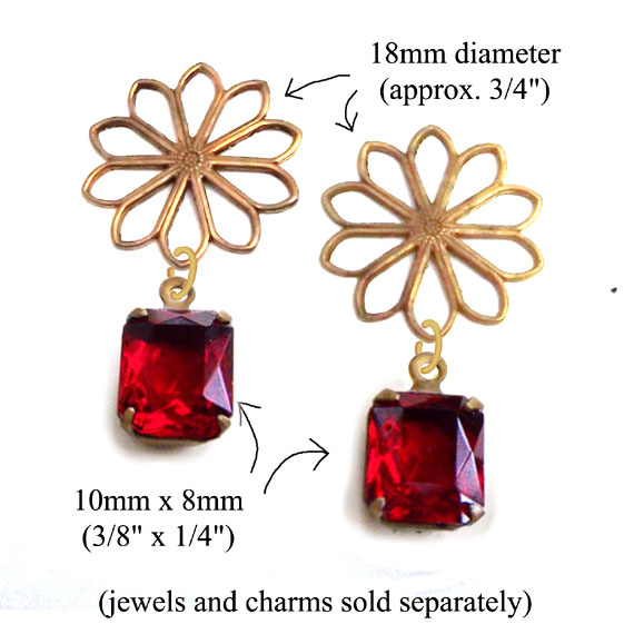 earring design idea featuring brass filigree flower connectors and 10x8mm rhinestone octagons... shown here in ruby red