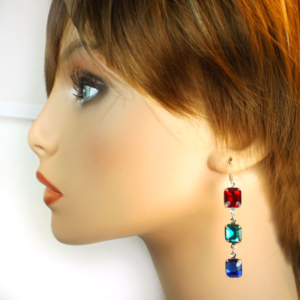 DIY earring design idea featuring 10x8mm glass octagons in vivid colors