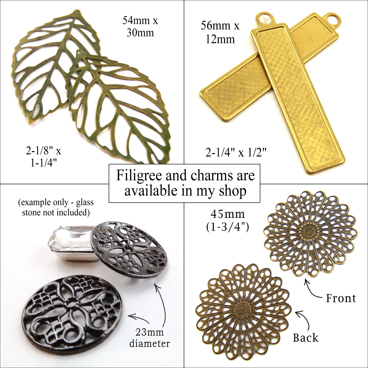brass filigree and alloy charms available in my shop