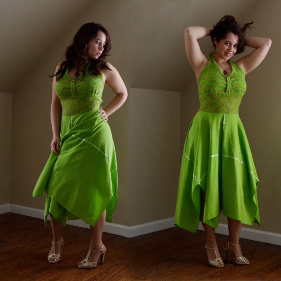 vintage green dance dress