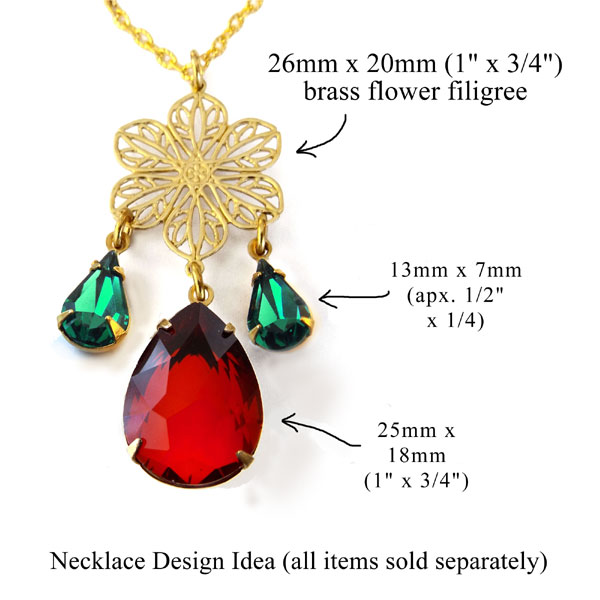 christmas colors in glass teardrops combined with delicate brass filigree flower for a new necklace design idea