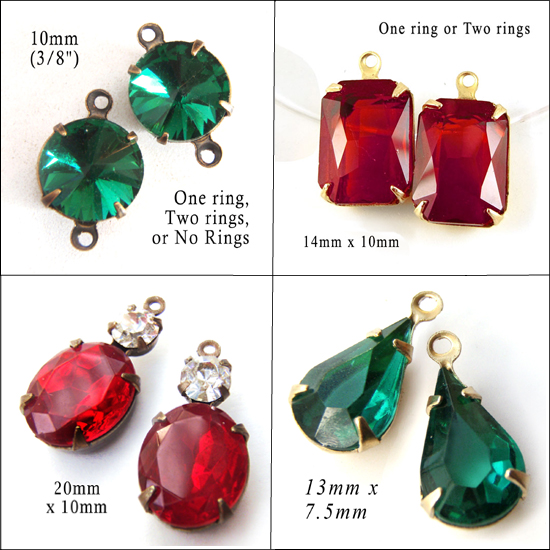 emerald green and ruby red glass jewels available in my Etsy shop