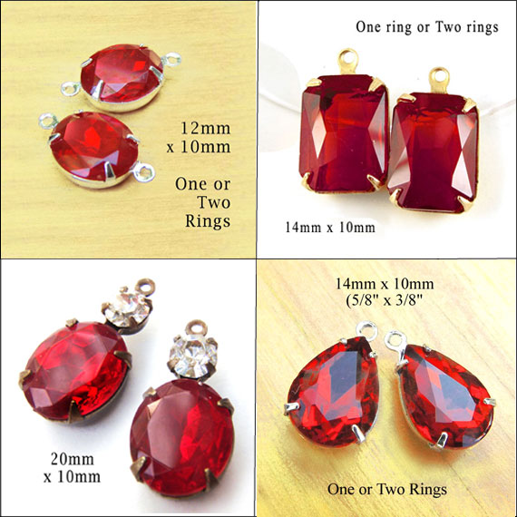 red glass jewels for Christmas and Valentines Day jewelry