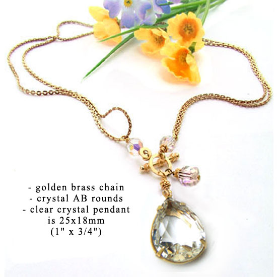 clear rhinestone pendant is the focus of this do it yourself necklace design idea