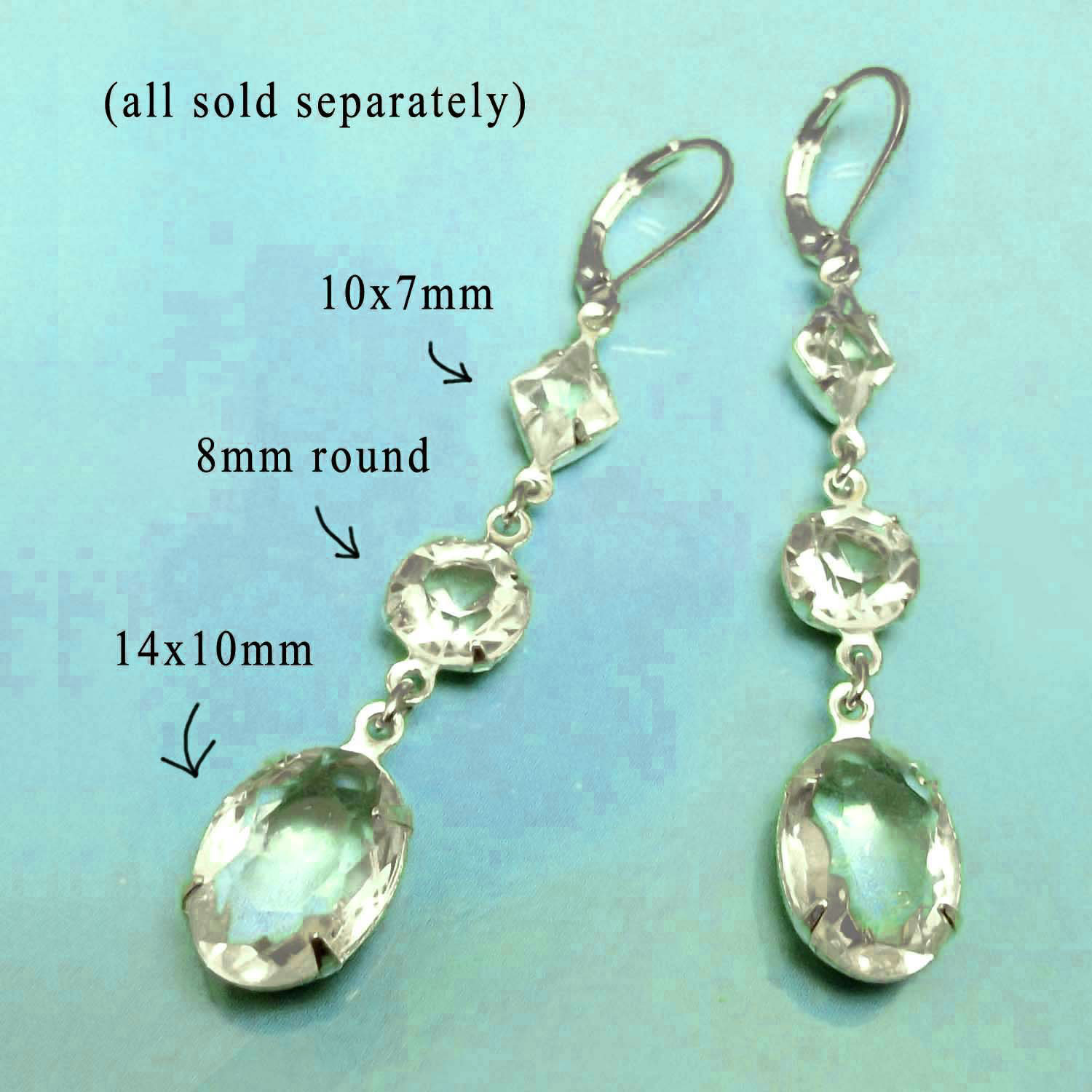 DIY earring design idea featuring clear glass jewels in silver plated brass settings
