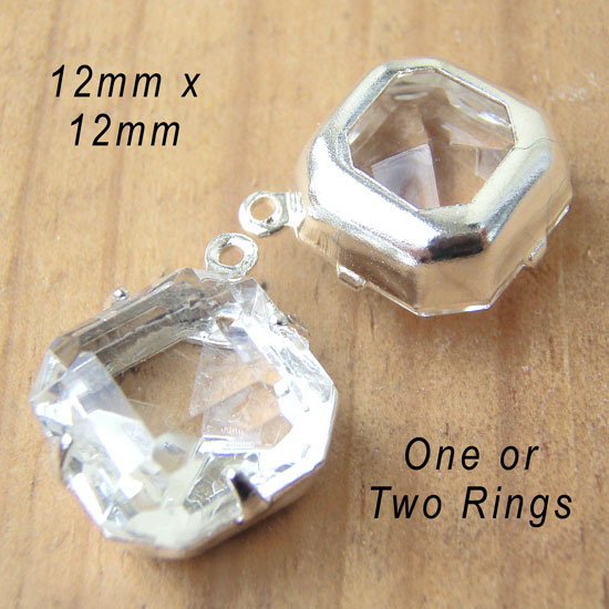 clear vintage glass octagon beads from Weekendjewelry1 on Etsy