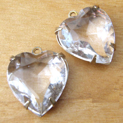 Vintage Rhinestone Clear Heart Jewels