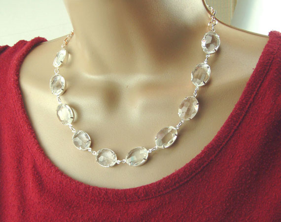 clear jewel necklace with stones from  my Etsy shop