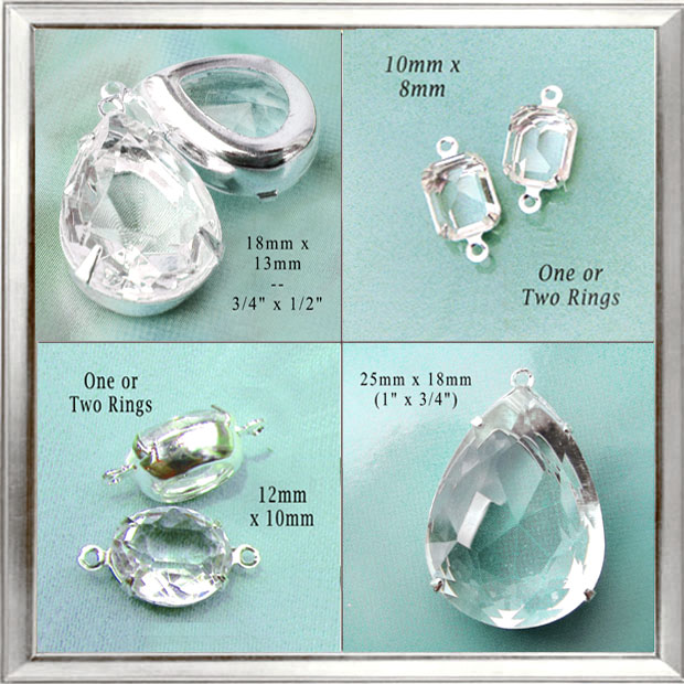 clear glass jewels in my jewelry supplies shop