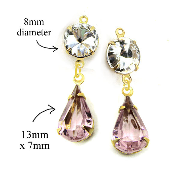 DIY earring design idea with crystal rivoli rhinestones and sheer light amethyst teardrops