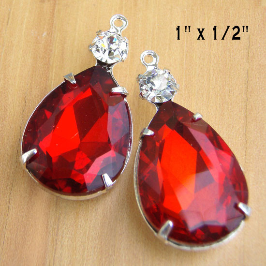 Red and Crystal Earring Jewels in my Etsy jewelry supplies shop