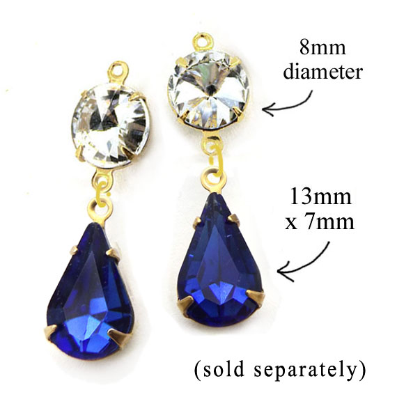 crystal rounds and petite sapphire glass pear jewels available in my jewelry supplies shop