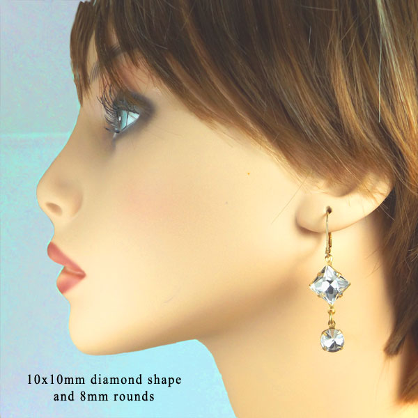 do it yourself crystal earrings with geometric shapes