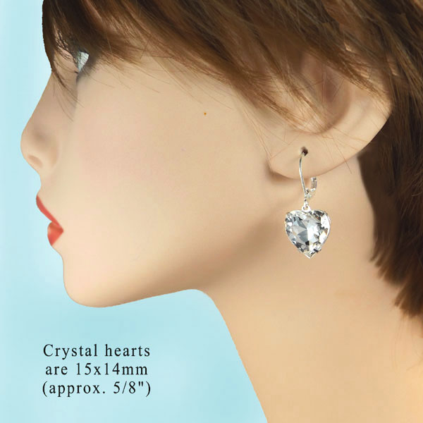 crystal heart jewels in classic bridal earrings