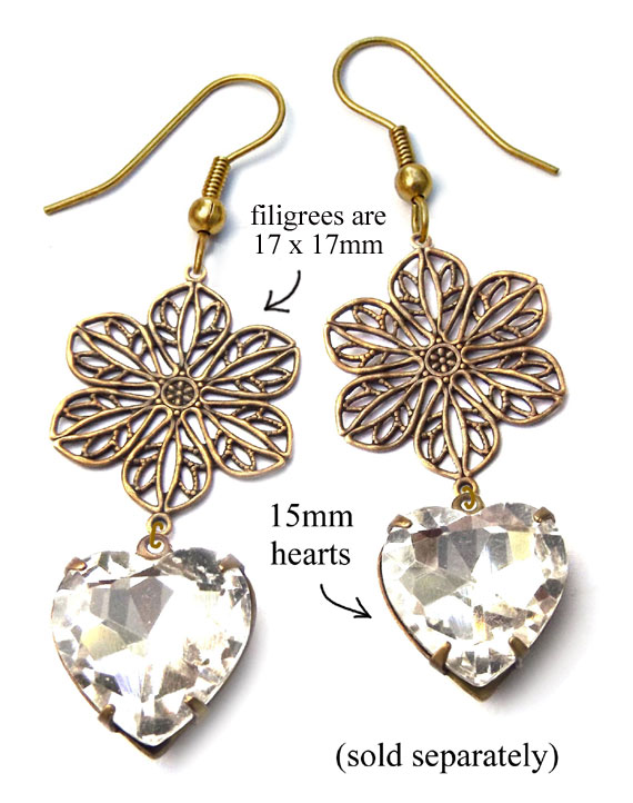 DIY earring design idea featuring brass filigree flower connectors and crystal rhinestone hearts
