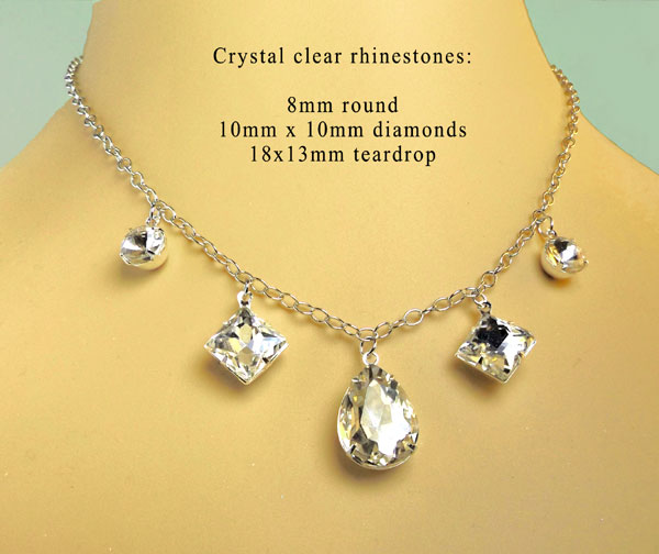 sparkling crystal rhinestone jewels on a silver chain...a do it yourself necklace design idea