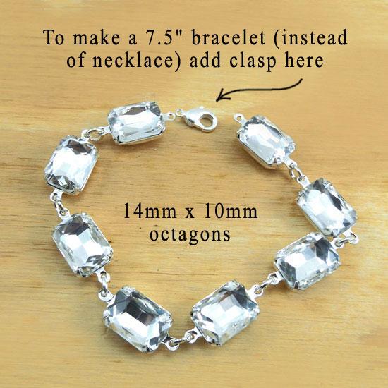 crystal octagon silver bracelet