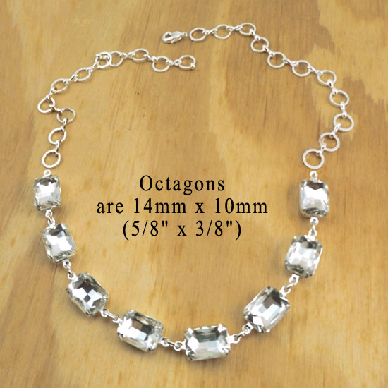 crystal octagon silver necklace