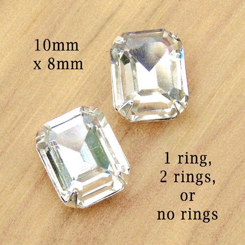 crystal octagon beads in no ring silver settings for stud or button earrings