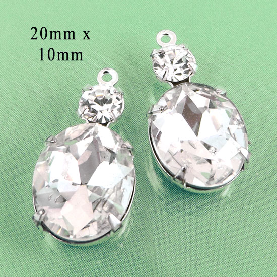 crystal oval glass jewels with two sparkling rhinestones