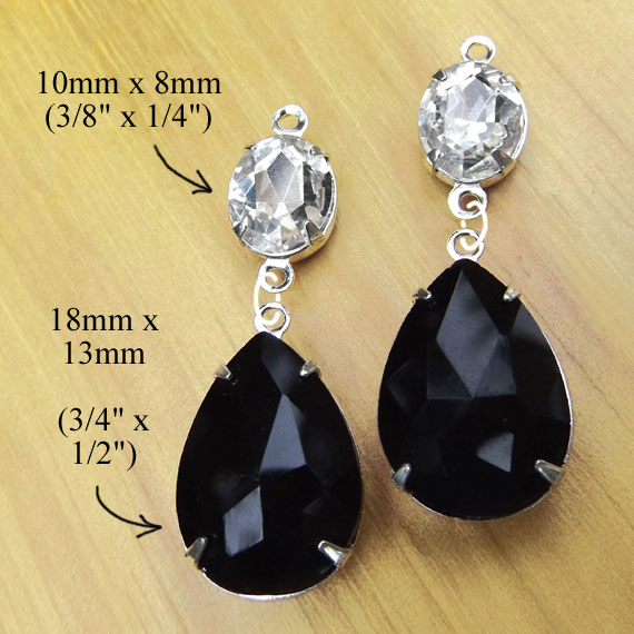 DIY earring design idea featuring crystal oval rhinestones paired with faceted black teardrops