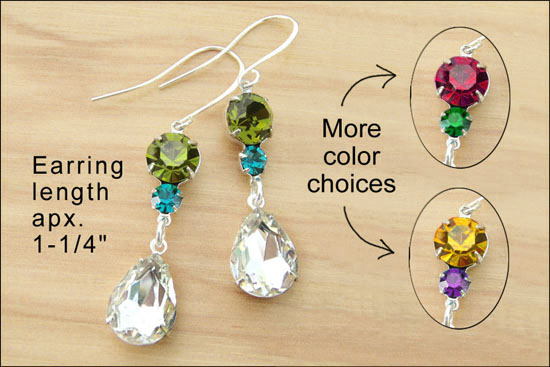 glass teardrop jewels with several rhinestone color choices
