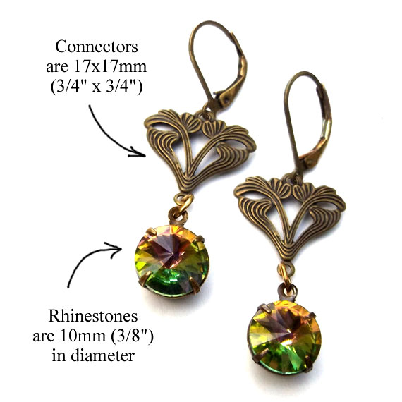 earring design idea featuring brass filigree connectors and round vitrail glass gems
