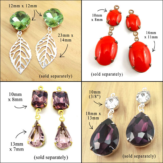 earring design ideas featuring glass gems and charms from weekendjewelry1 on etsy