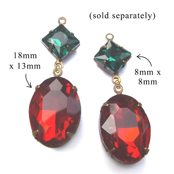 emerald green and vivid red oval glass jewels for Christmas earrings