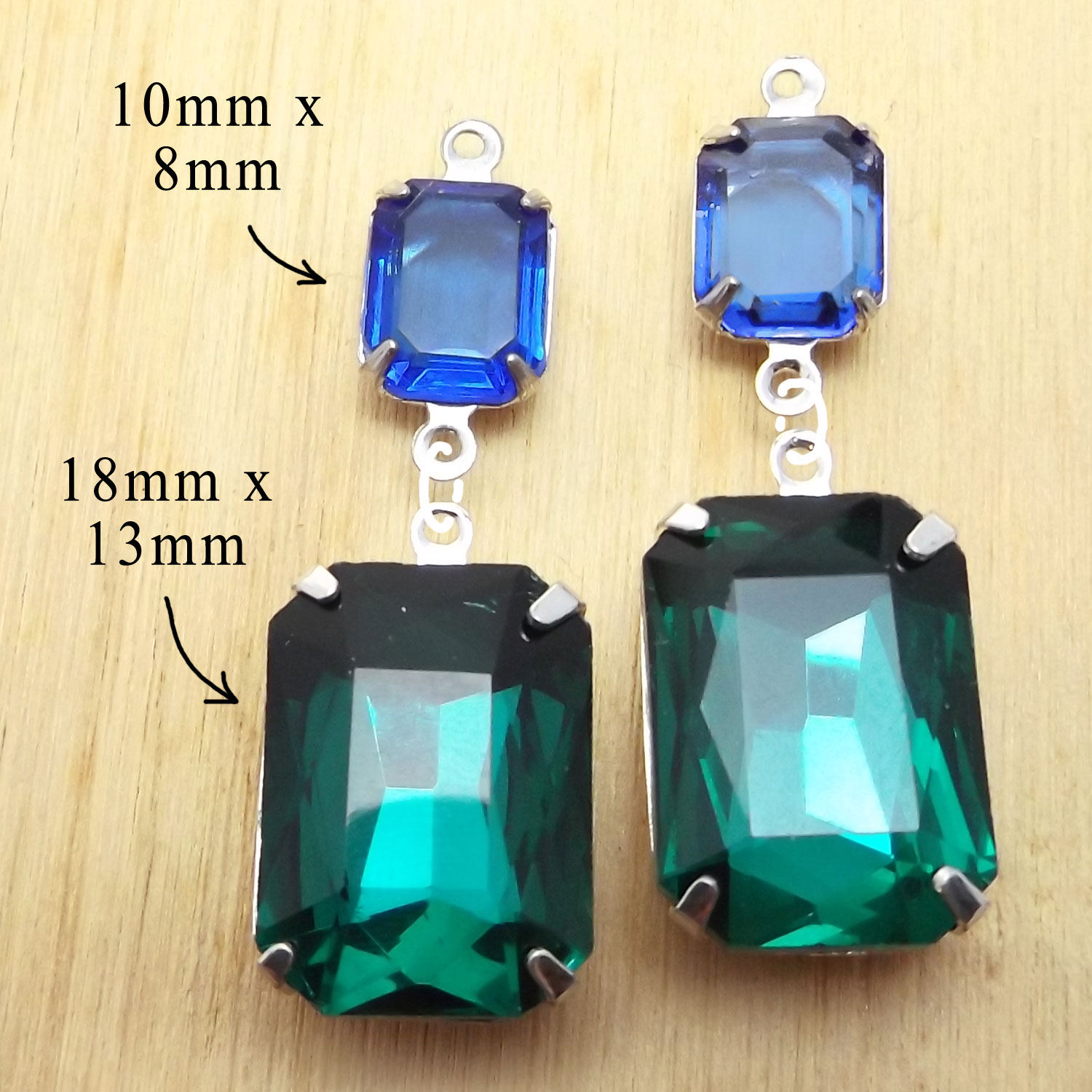 emerald green and sapphire blue rhinestone octagons from my online jewelry supplies shop