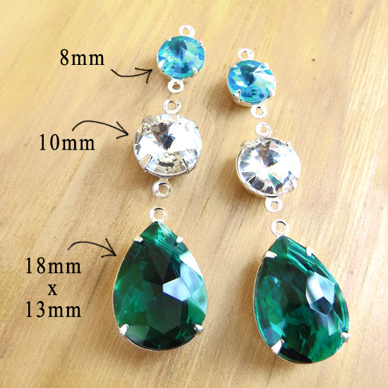emerald green aquamarine and crystal glass jewels in birthstone colors