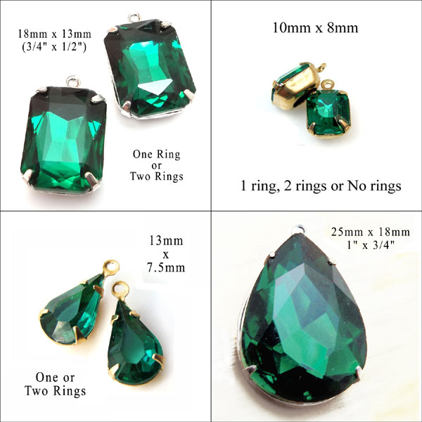 emerald green glass jewels for holiday and Christmas jewelry