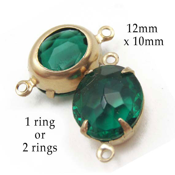 emerald green vintage glass jewels in golden raw brass settings
