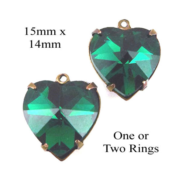 emerald glass heart pendants or earring jewels