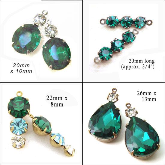emerald green glass multi stone beads
