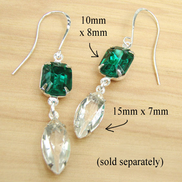 emerald glass octagons and clear navette crystals in a new DIY earring design