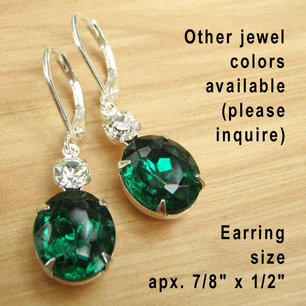 Emerald Vintage Rhinestone and Swarovski Crystal Earrings available from Weekend Jewelry