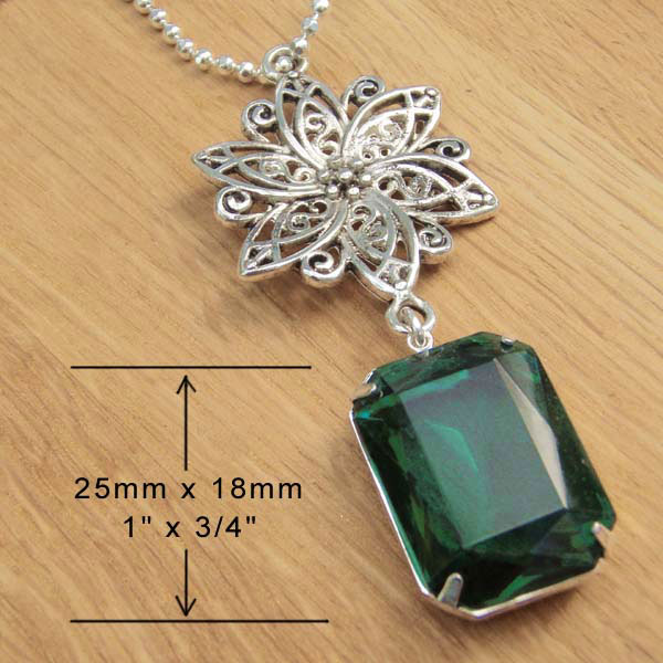 Emerald  Vintage Rhinestone Octagon and Antiqued Silver Filigree Necklace ... available at Weekend Jewelry