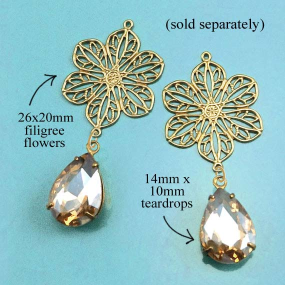 brass filigree flowers paired with light colorado topaz rhinestone teardrops ...to make terrific DIY earrings