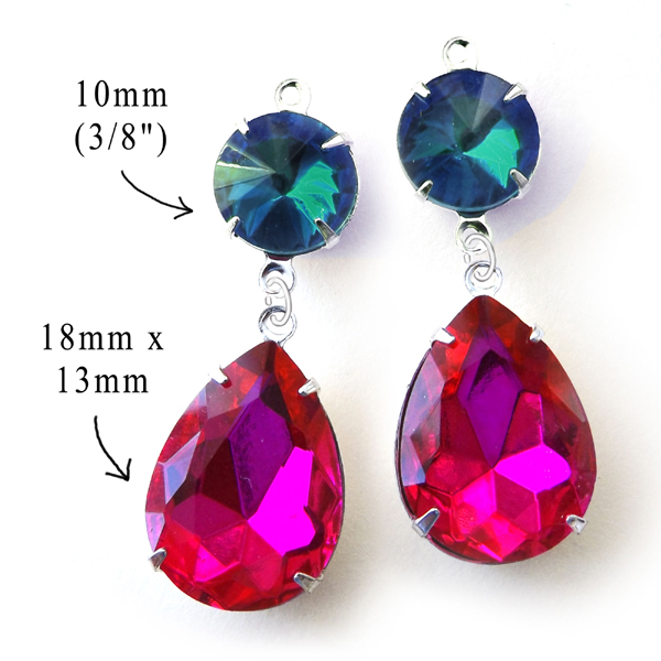 earring design idea featuring fuschia pink and blue zircon glass gems from weekendjewelry1 on etsy