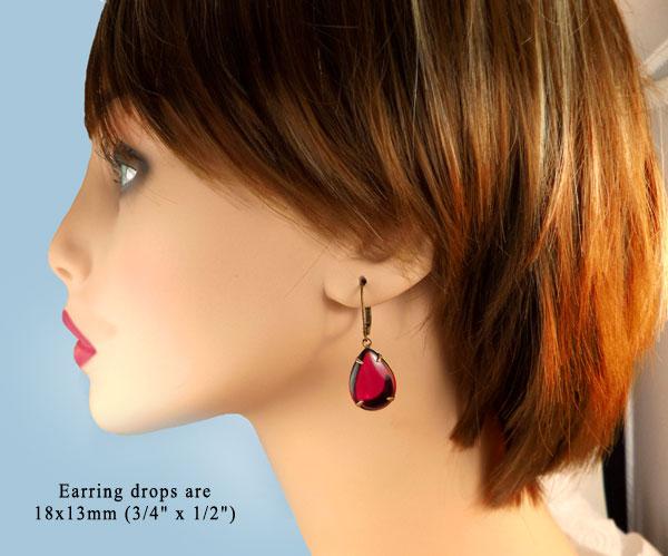 fuschia pink vintage glass jewel earrings