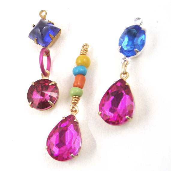 fuschia pink glass jewels with multi color beads and jewels