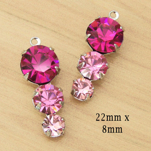 fuschia pink glass jewel earring charms