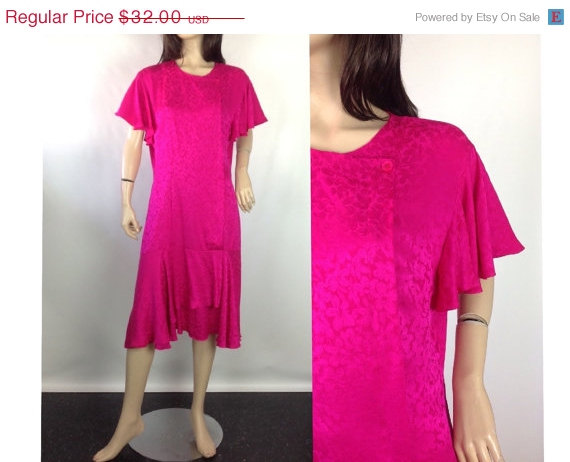 fuschia pink plus size vintage dress