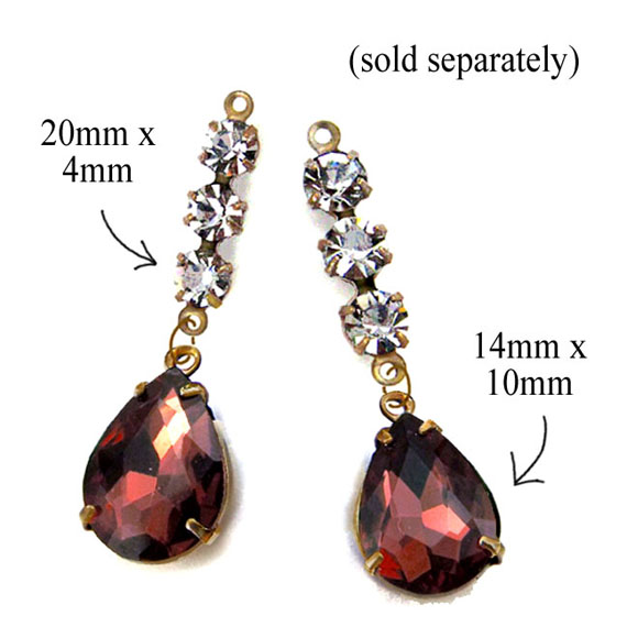 garnet rhinestone pear jewels combined with rhinestone connectors for a great DIY earring design idea