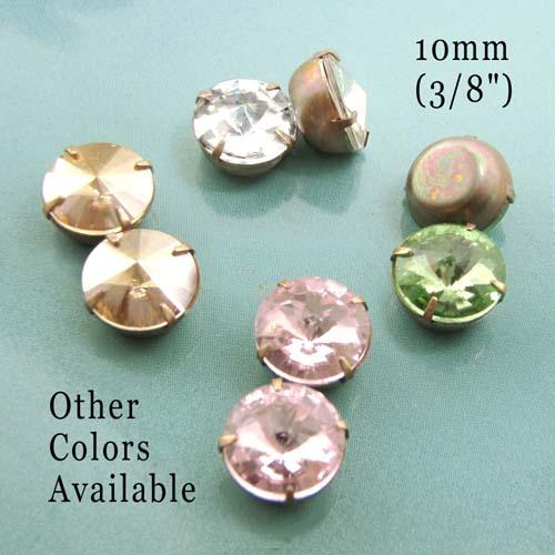 Rivoli rhinestone jewels for button or stud earrings