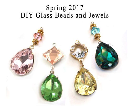 framed glass beads and jewels in pretty colors for Spring 2017