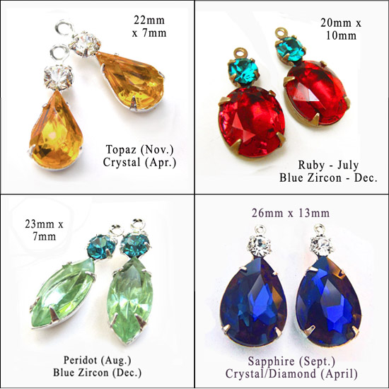 glass beads and jewels with birthstone colors for personalized DIY jewelry designs