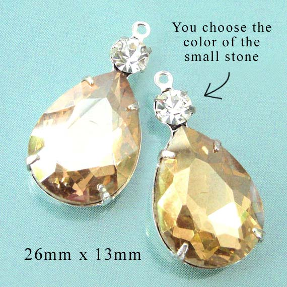 golden tan or champagne or light colorado topaz rhinestone teardrops paired with tiny crystal rhinestones for great prom jewelry