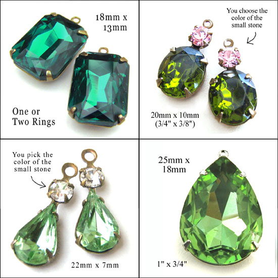 green glass jewels available in my online jewelry supplies shop